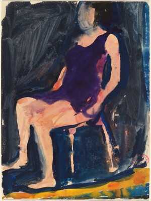 Untitled [seated woman in purple dress]