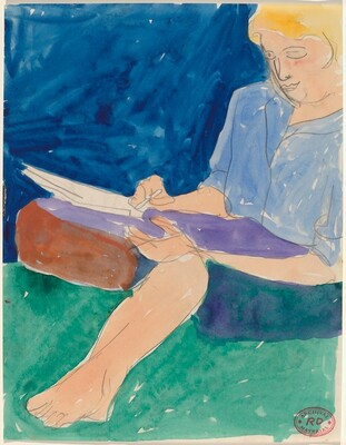 Untitled [barefoot woman seated and writing]