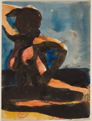 Untitled [female nude seated on the floor with left arm raised]