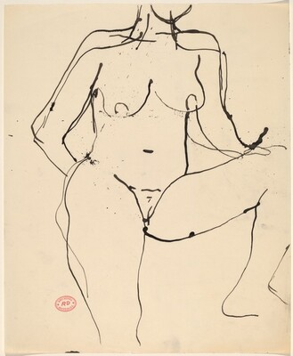 Untitled [standing nude with her left leg elevated]