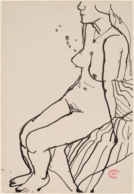 Untitled [female nude seated on striped fabric]