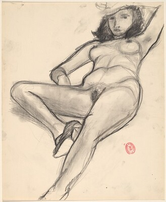 Untitled [reclining nude shading her face with her hand]