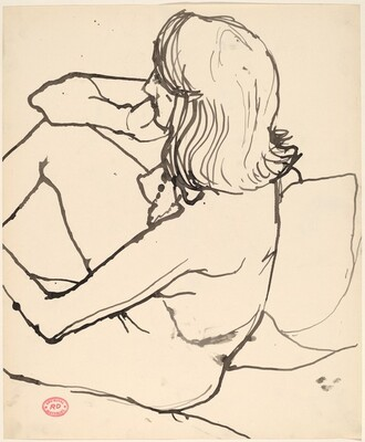 Untitled [seated female nude seen from above and slightly behind]