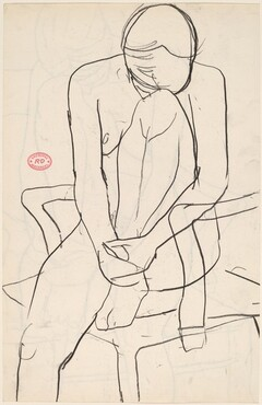 Untitled [seated nude with resting her head on her knee] [recto]