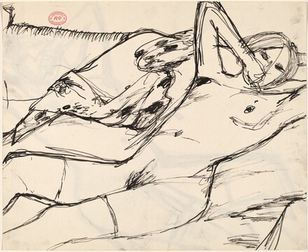 Untitled [reclining nude raising her left elbow] [recto]