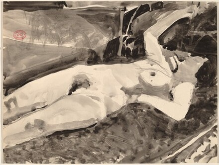 Untitled [reclining nude with her right arm raised]