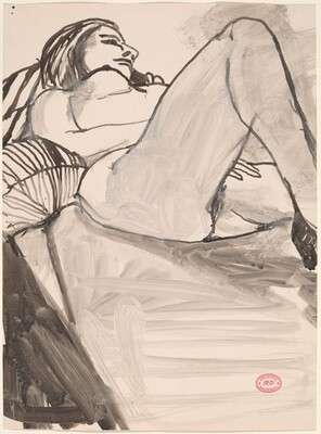 Untitled [female nude reclining on striped pillows]