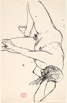 Untitled [bird's-eye view of nude resting on her side]