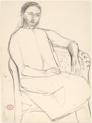Untitled [woman seated in a wicker chair]