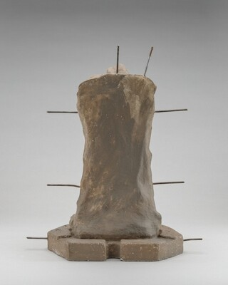 Lost-Wax Casting Display: clay model reduced by thickness of final bronze [fourth of ten steps]