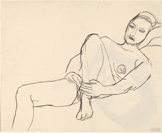 Untitled [head of reclining woman] [recto]