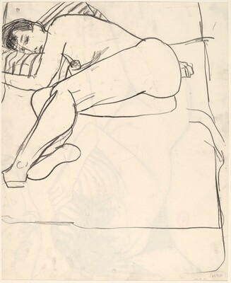 Untitled [female nude resting on a bed with a striped pillow] [recto]
