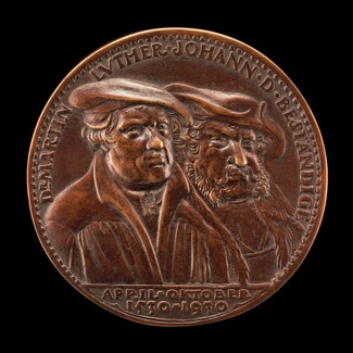 Martin Luther, 1483-1546, Theologian, and John the Steadfast, 1468-1532, Elector of Saxony 1525 [obverse]