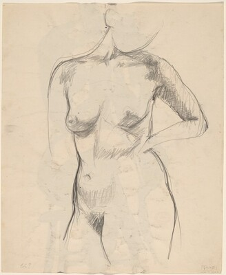 Untitled [standing nude with her left arm akimbo] [recto]
