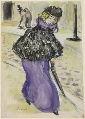 Elegant Young Woman en Promenade