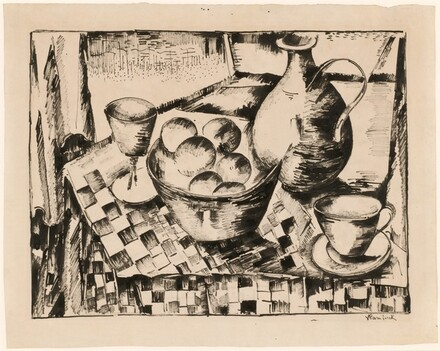 Still Life with a Bowl of Fruit on a Checkered Tablecloth