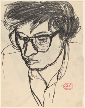 Untitled [head of a woman in eyeglasses] [recto]