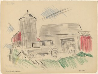 Massachusetts, Farm and Old Car with Horse, No. 1