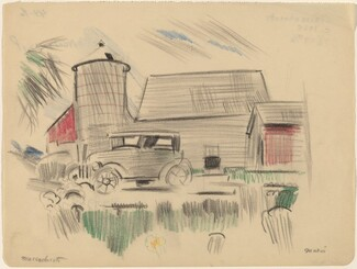 Massachusetts, Farm and Old Car with Horse