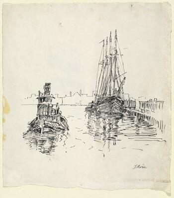 Hudson River, Schooner or 4 Master and Tug