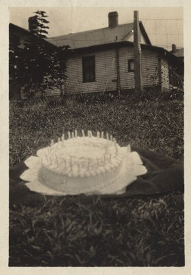 Untitled (Cake on lawn in front of house)
