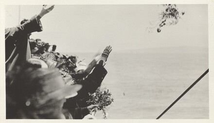 Untitled (Crowd waving farewell on boat)