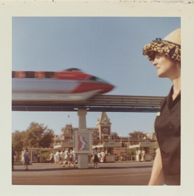 Untitled (Woman and monorail in motion)
