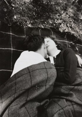 Untitled (Couple under striped blanket)