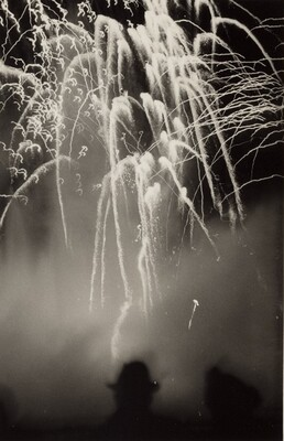 Untitled (Silhouette of couple watching fireworks)
