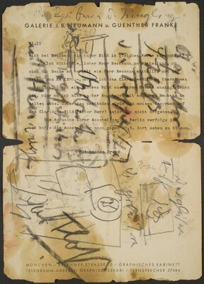 Sketch over Typed Letter from the Galerie J.B. Neumann u. Guenther Franke