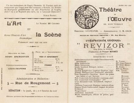 Théâtre de l'Œuvre, for the Playbill of L'Inspecteur Gèneral Revizor (The Inspector General) by Nicolai Gogol