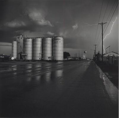 Grain Elevator and Lightning Flash, Lamesa, Texas