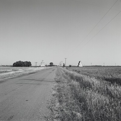 Landscape-Road and Two Grain Elevators-Near Kinsley, Kansas