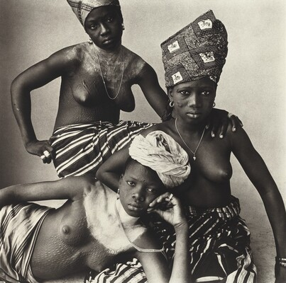 Three Girls, One Reclining, Dahomey