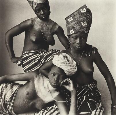 Three Girls, One Reclining, Dahomey