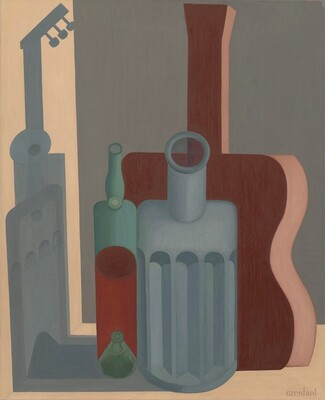 Still Life with Carafe, Bottle, and Guitar