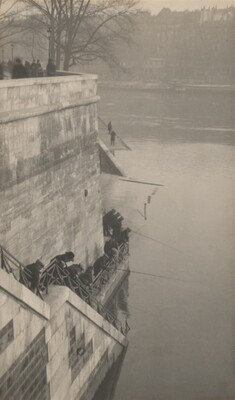 Quai d'Orleans, Fishermen behind Notre Dame, Paris