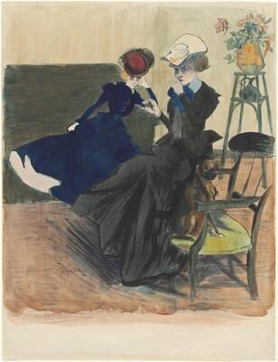 Two Elegant Ladies, One Lighting a Cigarette