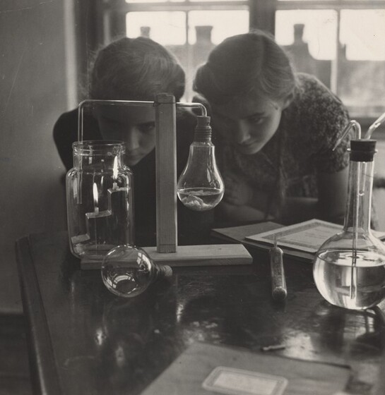 David Seymour (Chim), Improvised Chemistry Lab Experiment, Szeged, Hungary, 1948