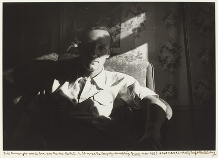 Bill Burroughs was in love, you can see the pain in his eyes, the longing. Assembling Queer mss. 1953. 206 E 7 St N.Y.C., 1953