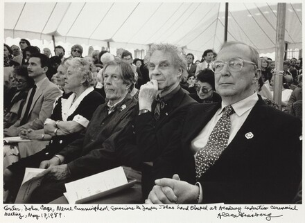 Center, John Cage, Merce Cunningham conscious & Jasper Johns hand clasped at Academy induction ceremonial meeting, May 17, 1989.