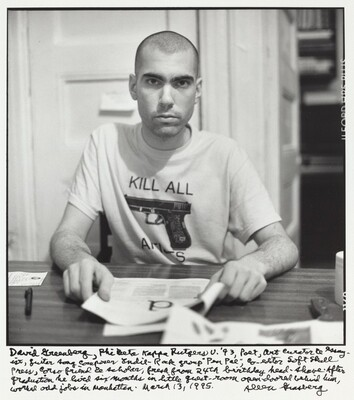 David Greenberg, Phi Beta Kappa Rutgers U. '93, poet, art curator & essayist, guitar song composer Indie-Rock group Pen Pal, co-editor Soft Skull press, Corso friend & scholar, fresh from 24th birthday head-shave. After graduation he lived six months in little guest-room open-doored behind him, worked odd jobs in Manhattan. March 13, 1995.