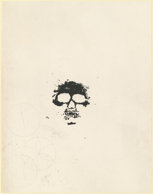 Untitled [undesignated, unsigned proof of skull image with pencil additions]