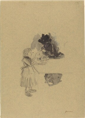 A Beggar Girl Selling Flowers to a Woman