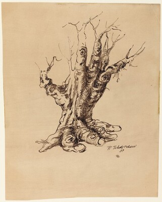 Tree into Double Hand (Study for Hide-and-Seek)