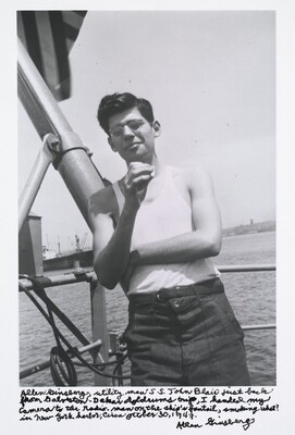 Allen Ginsberg, utility man S.S. John Blair first back from Galveston-Dakar Doldrums trip, I handed my camera to the radio-man on the ship's fantail, smoking what? In New York harbor, circa October 30, 1947.