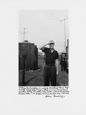 William Burroughs on roof of apartment house East Seventh Street where I had a flat, we were lovers those months, editing his letters into books not published till decades later (as Queer, 1985) Lower East Side Fall 1953.