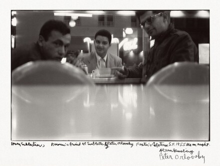 Henry Schlactner, Kerouac's friend Al Sublette by Peter Orlovsky. Foster's Cafeteria S.F. 1955. Me on right.