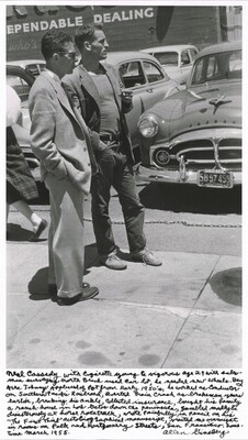 """Neal Cassady with cigarette young & vigorous age 29 with salesman surveying North Beach used car lot, he needed new wheels. Bay Area Johnny Appleseed of pot from early 1950's, he worked as conductor on Southern Pacific Railroad, averted train crash as brakeman years earlier, breaking his ankle, collected insurance, bought his family a ranch-house in Los Gatos down the peninsula, gambled madly & disastrously at horse racetrack, wrote painfully in pencil on his """"The First Third"""" autobiographical manuscript, visited me overnight in rooms on Polk and Montgomery Streets, San Francisco, sometime March 1955."""