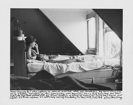 Neal Cassady & I went upstairs to attic at Millbrook estate near Poughkeepsie, big house where Tim Leary's Castalia Foundation was then experimenting with psychedelic DMT, a half hour trip. Here Neal rests with eyes closed watched over by Susan Metzner in charge of holding the vial of clear liquid, just injected. I'd driven up from N.Y. with Kesey's Merry Pranksters in their bus, Fall 1964.